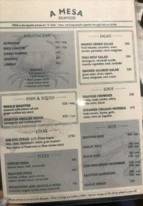 マクタン島マリバゴ地区にあるスペイン料理レストランA Mesa Seafood and Tapas Barのメニュー