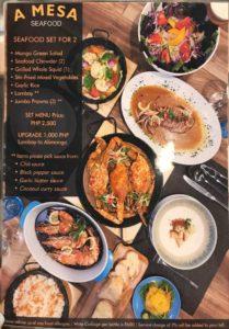 セブのマクタン島マリバゴ地区にあるスペイン料理レストランA Mesa Seafood and Tapas Barのメニュー