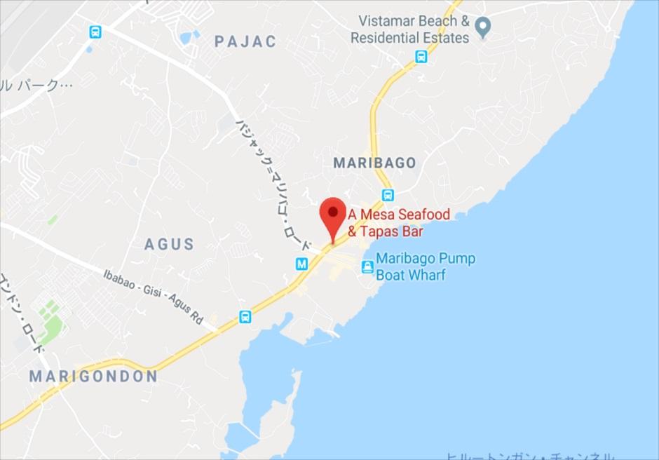セブのマクタン島にあるスペイン料理レストランA Mesa Seafood and Tapas Bar 地図