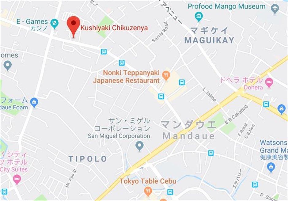セブの日本料理レストランChikuzenyaのマップ