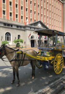 マニラの観光スポットで見られる馬車 カレッサ