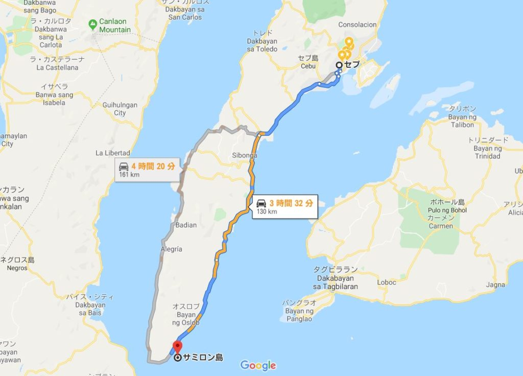セブシティからスミロン島へのマップ
