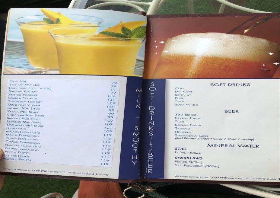 ベトナム ホーチミン カフェ ドリンクメニュー